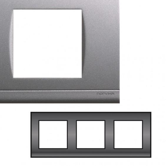 Plaque triple horizontale gris nacré