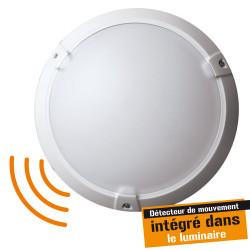 Hublot plastique blanc 60W - Classe II - IP 65 avec détecteur de mouvement