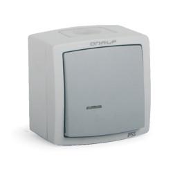 Interrupteur Poussoir Etanche Extérieur Voyant Lumineux IP55 Encastrée ou Saillie ONALP