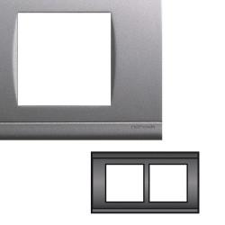 Plaque Double Horizontale Entraxe 57mm Gris alu NORVIKA