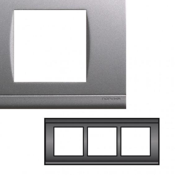 Plaque Triple Horizontale Entraxe 57mm Gris NORVIKA
