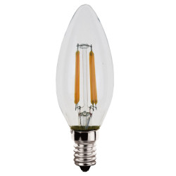 Ampoules LED flamme à filaments E14 - Verre transparent