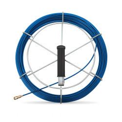 Tire fil en fibre de verre de 30m bleu Ø3mm à embout interchangeable + dévidoir
