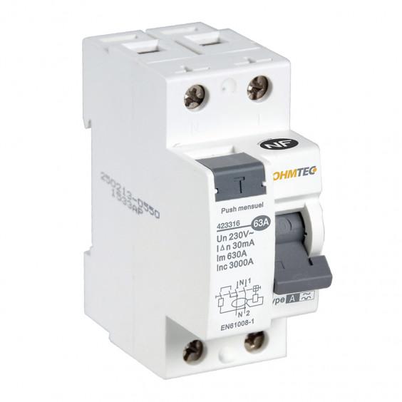 Interrupteur différentiel 1P+N 63A type A