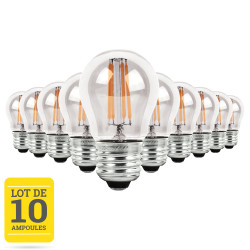 Lot de 10 ampoules LED à filaments E27 4W blanc chaud - Verre transparent - variable