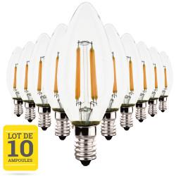 Lot de 10 ampoules LED flamme à filaments E14 4W blanc chaud - Verre transparent - variable