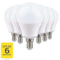 Lot de 6 ampoules LED E14 8W blanc chaud