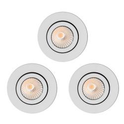 Lot de 3 spots à encastrer LED COB 9W orientable blanc
