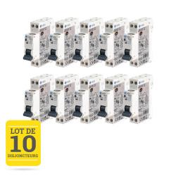 Lot de 10 disjoncteurs à vis 16A - 1P+N - 3kA NF NALTO