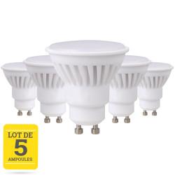 Lots de 5 ampoules LED GU10 9W blanc chaud
