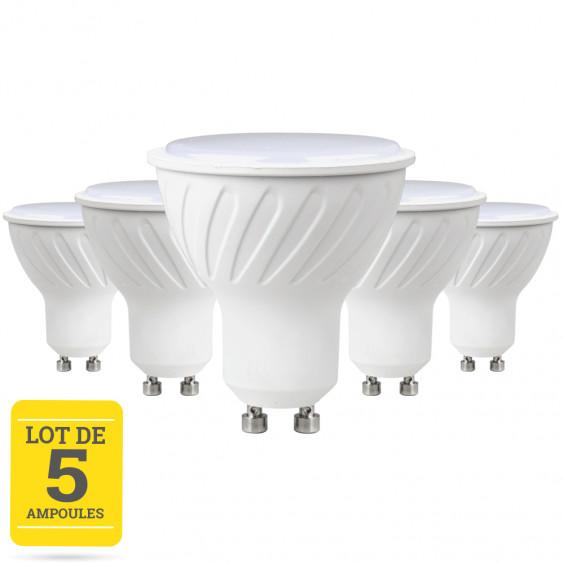 Lot de 5 ampoules LED GU10 7W blanc chaud - variable