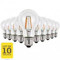 Lot de 10 ampoules LED à filaments E27 4W blanc chaud - Verre transparent - variable