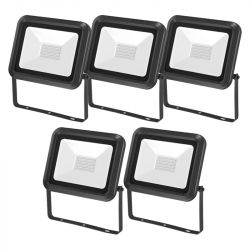 Lot de 5 Projecteurs LED Extérieur Extra Plat 30W Noir CREALYS