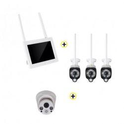 "Pack Vidéosurveillance Wifi Ecran 7"" 4 canaux + 3 caméras Wifi + 1 dôme DIOD"