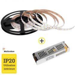 Pack Ruban LED 5m Multicolore + Transformateur 100W 24V IP20