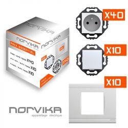 Pack Démarrage Blanc NORVIKA : 40 prises + 10 Va-et-vient + 10 Plaques de finition