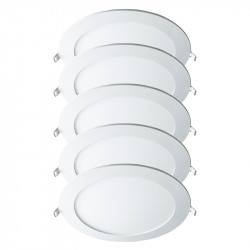 Lot de 5 Downlights LED Spot Rond 12W Blanc WOLTZ