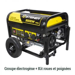 Pack Groupe Electrogène Essence 208cc 3000W max + Kit roues et poignées de transport