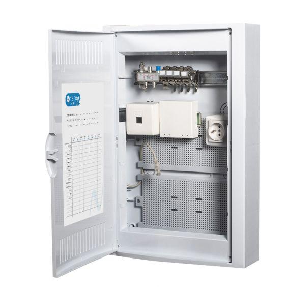 Coffret de Communication TEL/TV WIFI/ADSL avec 4 connecteurs RJ45 + Arrive fibre optique - GRADE2 NALTO