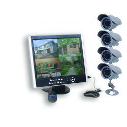 Pack Vidéo Surveillance Ecran + 4 caméras + télécommande + souris + câbles